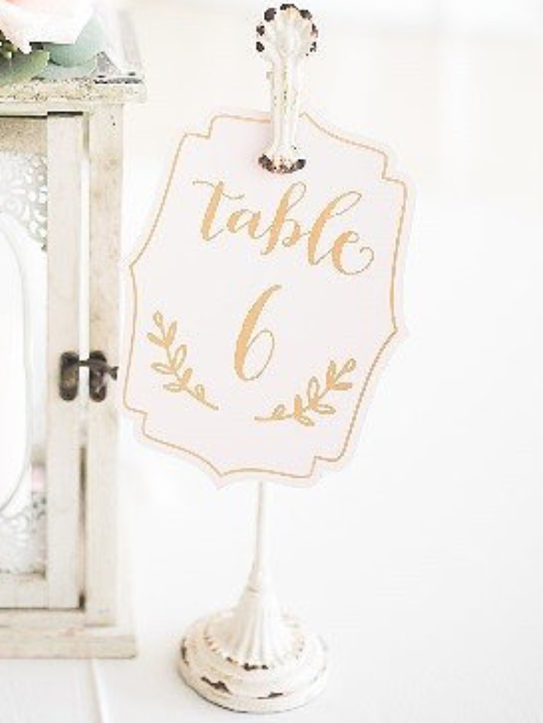 White Antiqued Table Number Stands, $1.50