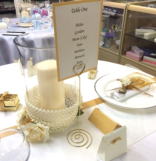 Gold Heart Table Number Holders, 25 cents