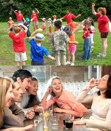 Many well known warm-up games are, or are derived from, children's games (from school, camp, scouting) and drinking games.