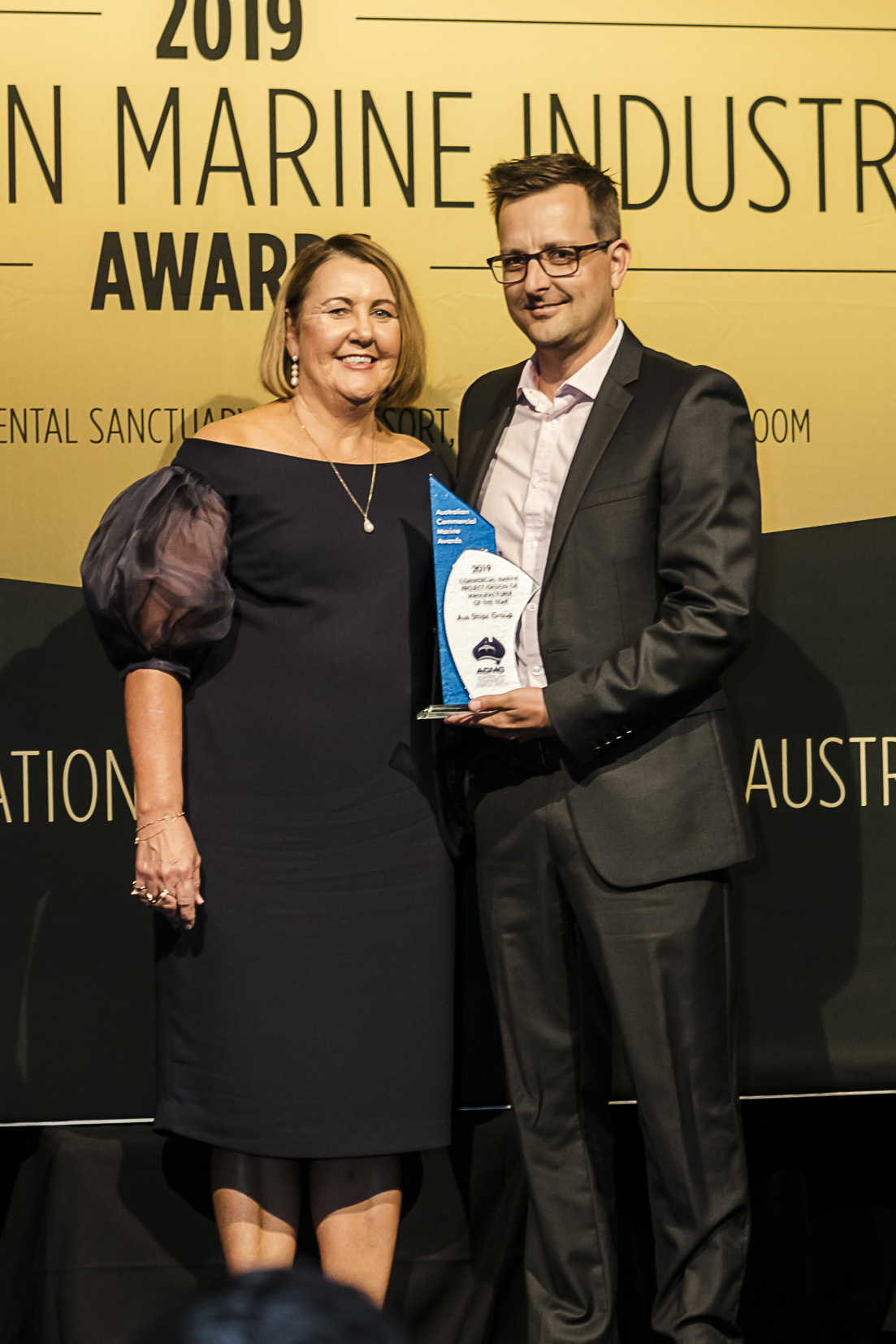 Tommy Ericson, CEO of Aus Ships Group receives the award for Commercial Marine Project/Design of Manufacturer of the Year for the InterContinental Hayman Island fleet of vessels.