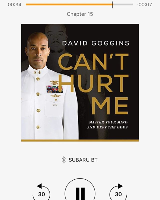 WOW. Of the 75+ books I have listened to on Audible this one really takes the cake. I have obsessively listened to it over the past week. I highly recommend it and can't wait to listen to it again. #canthurtme @davidgoggins btw it fired me up to run some intervals at 430 this morning. Fun stuff!