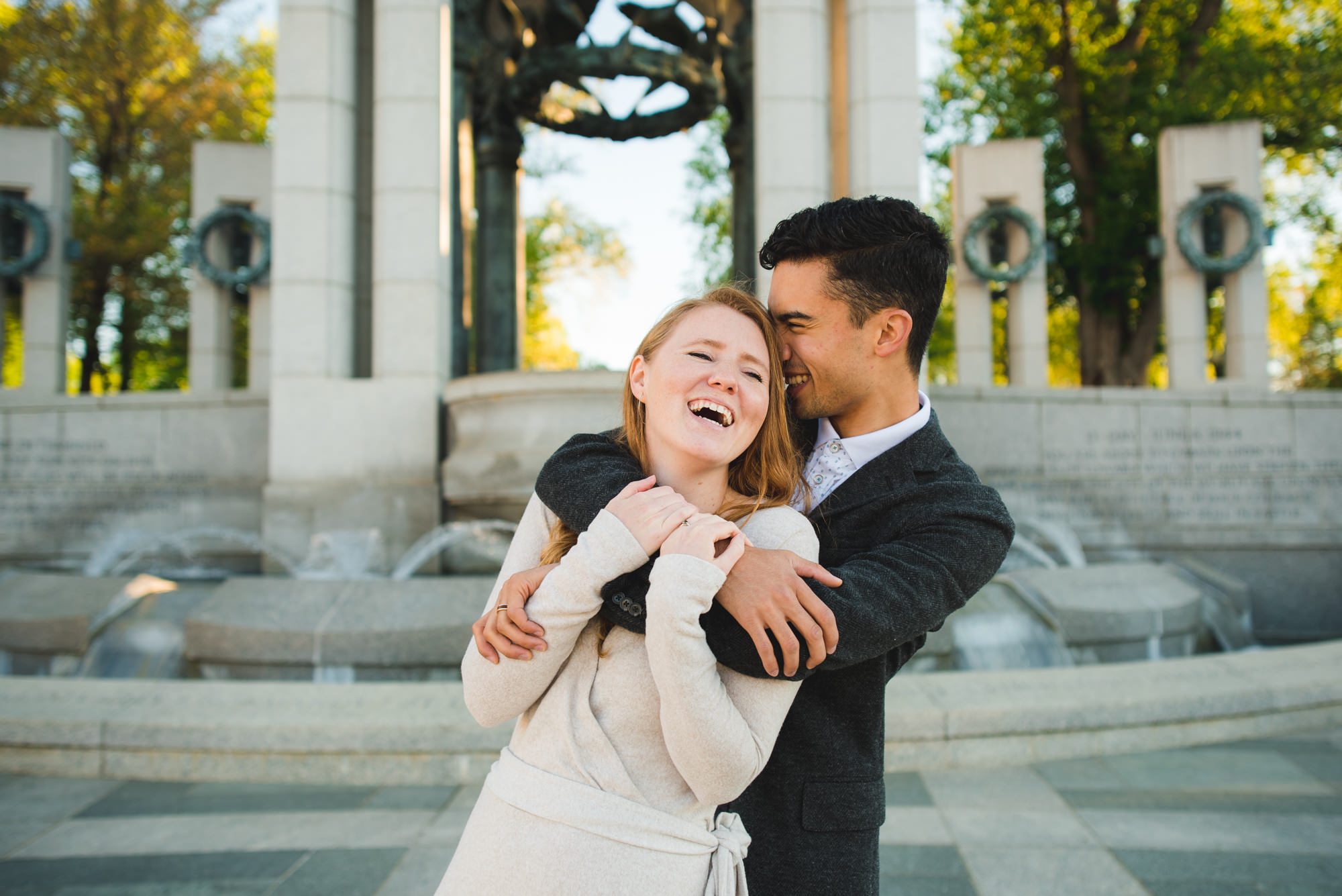 Engagement session at World War II Memorial