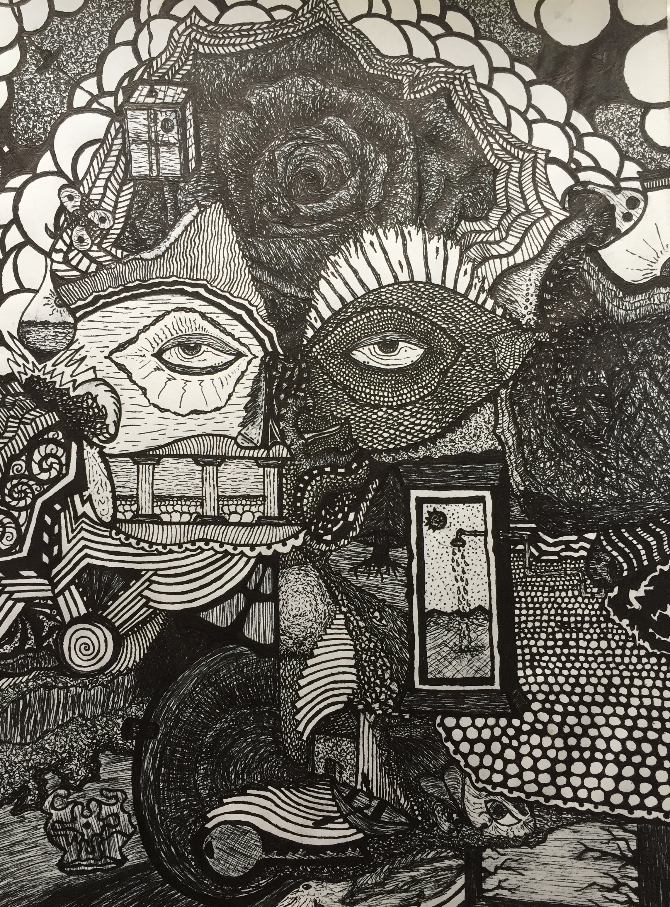 The Clock Reads EP Artwork [Black and White Version]: Ink Drawing