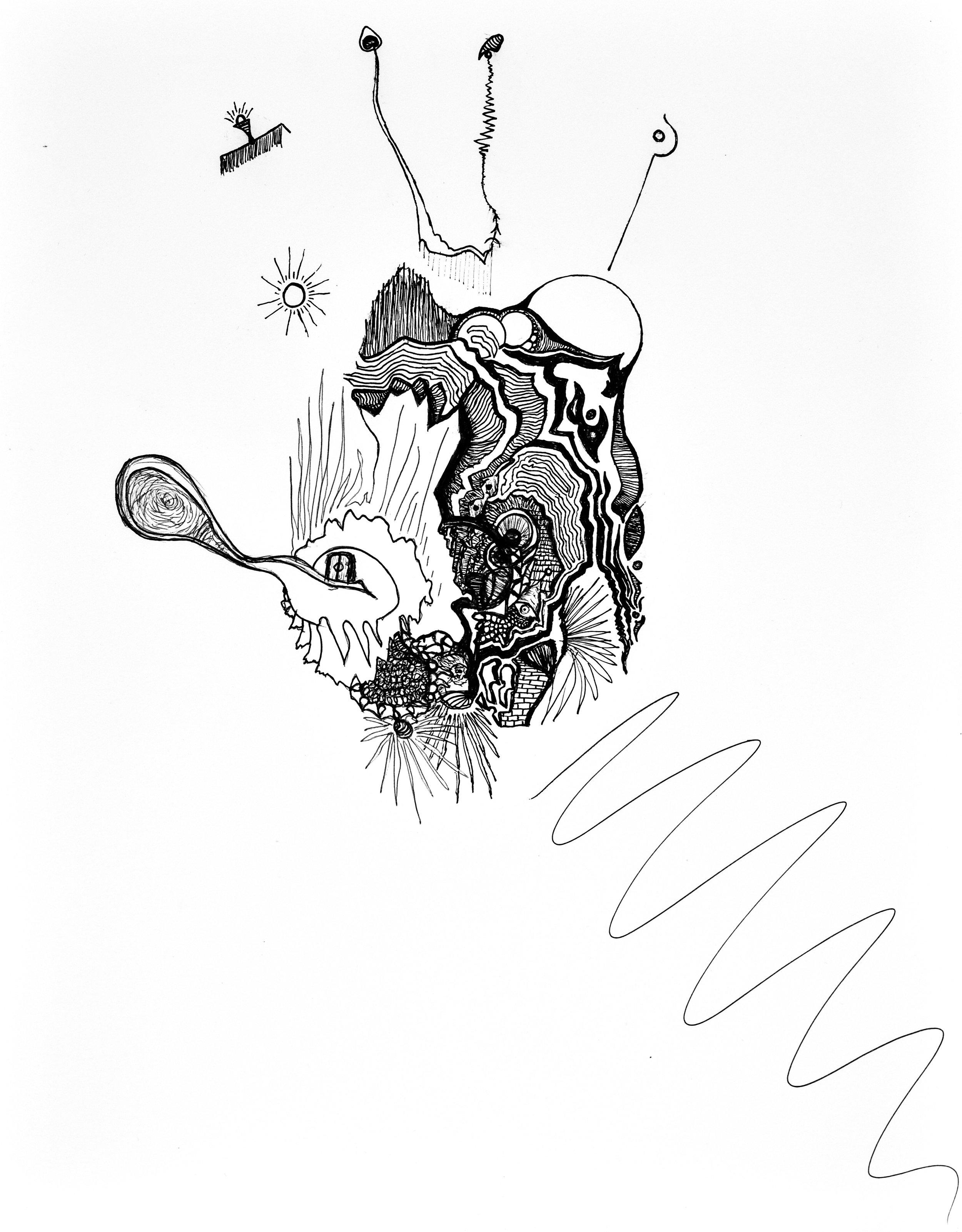 El Mano: ink drawing