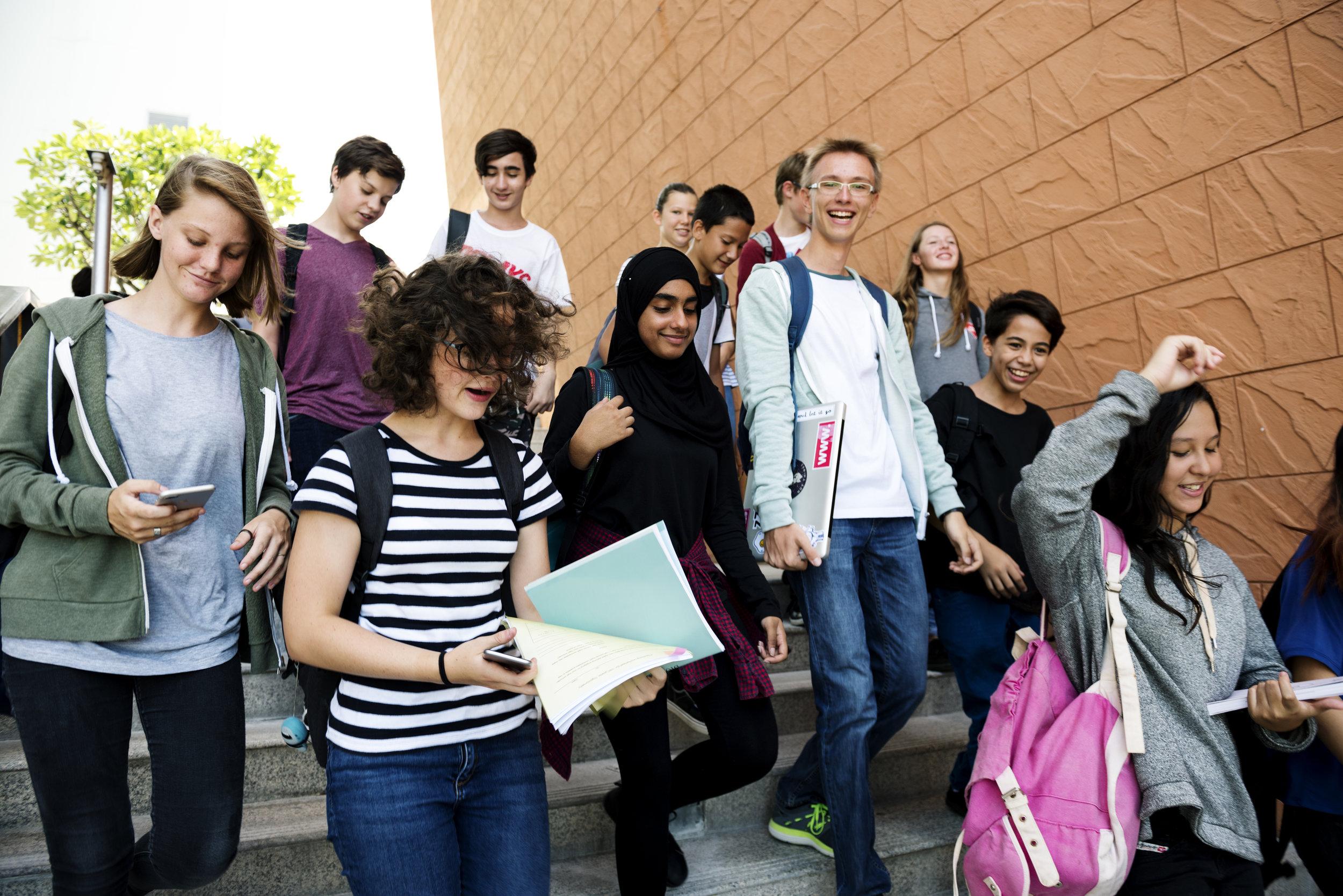 group-of-school-friends-walking-down-staircase-P2CRNZ3.jpg