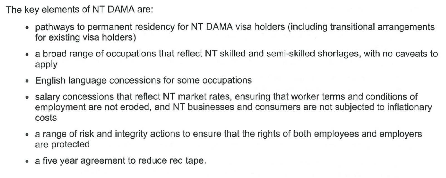 DAMA-2 NORTHERN TERRITORY — SWCG Vietnam - Education - Migration