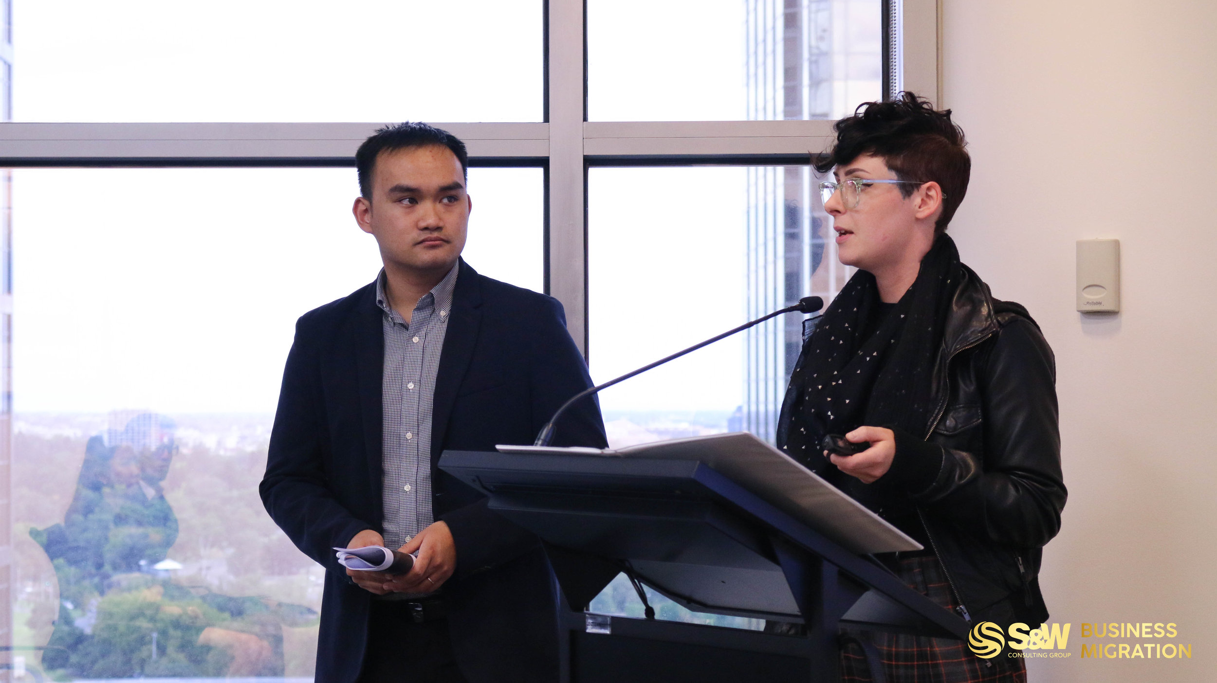 Brittany WATT (right) Project Support Officer, Skilled and Business Migration Program, Global Victoria & Tho NGUYEN (left) Registered Migration Agent, S&W Consulting Group