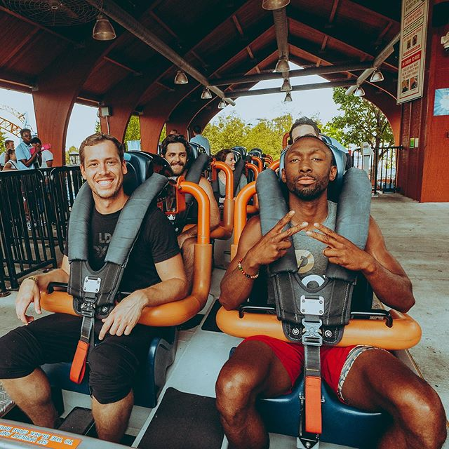 """First time on a roller coaster? This gone be a breeze! 😎"" ....30 seconds later... swipe 👉🏾...... 😂😂 I did it though and rode 4 in a row 😅. was literally a rollercoaster of emotions, all pun intended... and yes i was checking my pulse in the third pic. Haha"