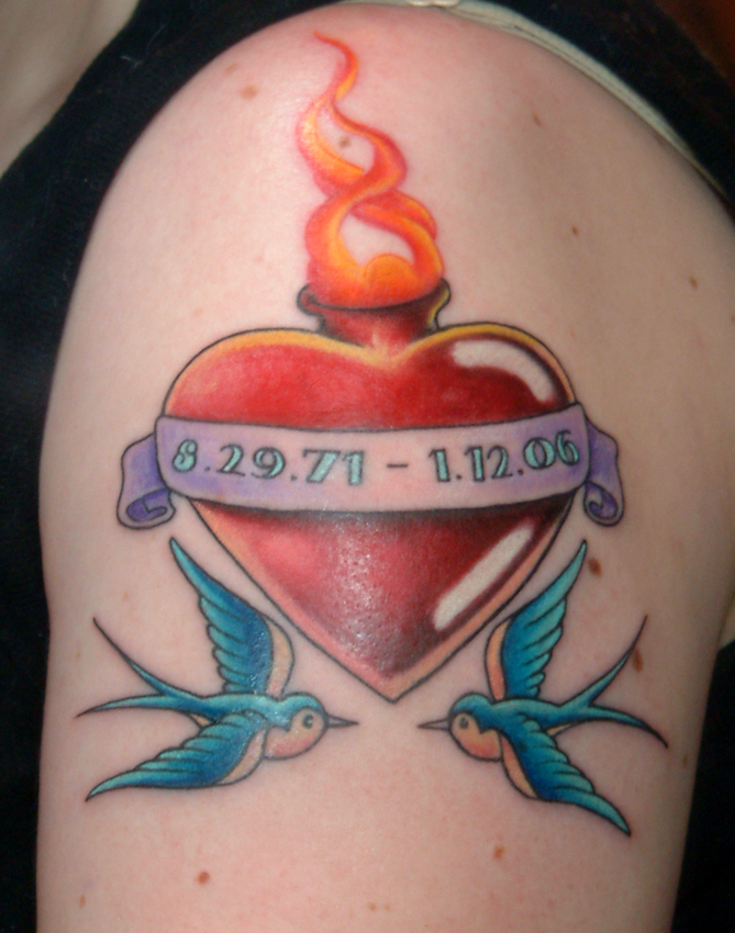 Jenna's sacred heart tattoo