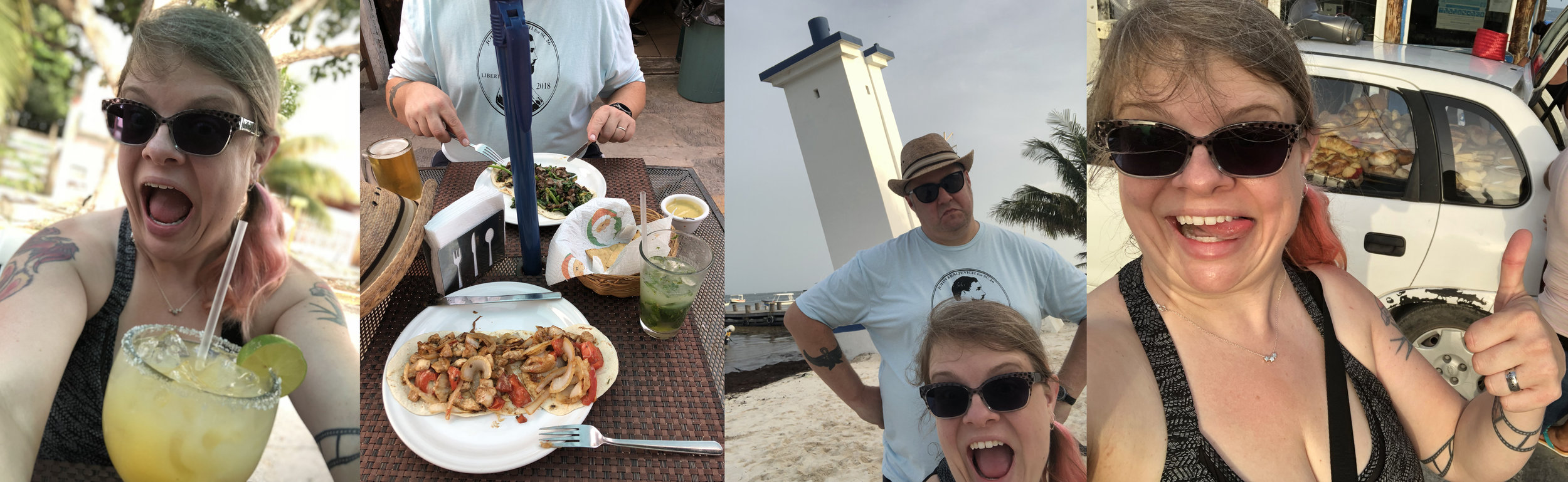 a brief tour of Puerto Morelos: freshly squeezed and made margarita the size of my head, and amazing fresh tacos at T@cos.com (mine is grilled chicken, tomatoes, onions, cheese on fresh tortillas, hubby has meat and peppers and spinach); the leaning lighthouse of Puerto Morelos; and one of the many cars that sells pan dulce on the town square at night. Full disclosure: I don't know how to smile in photos so I have developed a deranged face for selfies.