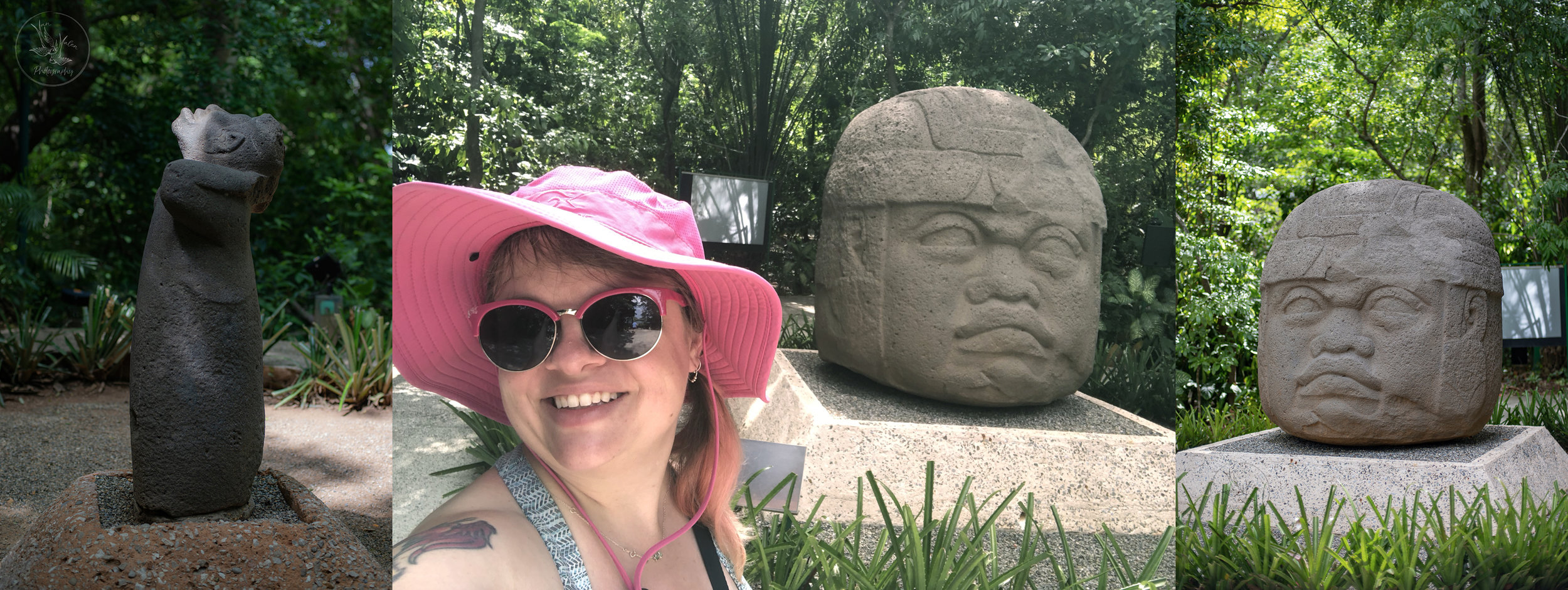 Me and some of the awesome Olmec statues - they are so, so big! Super cool to see them in person.