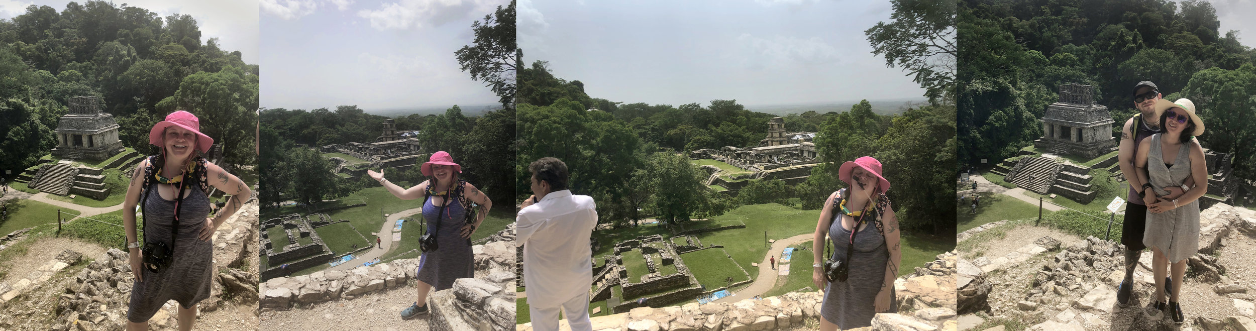 "We did it! Views from the Temple of the Holy Cross, Palenque: Me, super proud I did the stairs, with the Temple of the Sun behind and below; me again, proudly showing the best view in Palenque; how it REALLY feels to climb every damned staircase at a site in the blistering hazy heat and humidity of July in Chiapas; and our friends, Nick and Leah, doing a ""prom pose"" with the Temple of the Sun behind them. Jason skipped this part of the day - he was done with sun and heat and humidity."