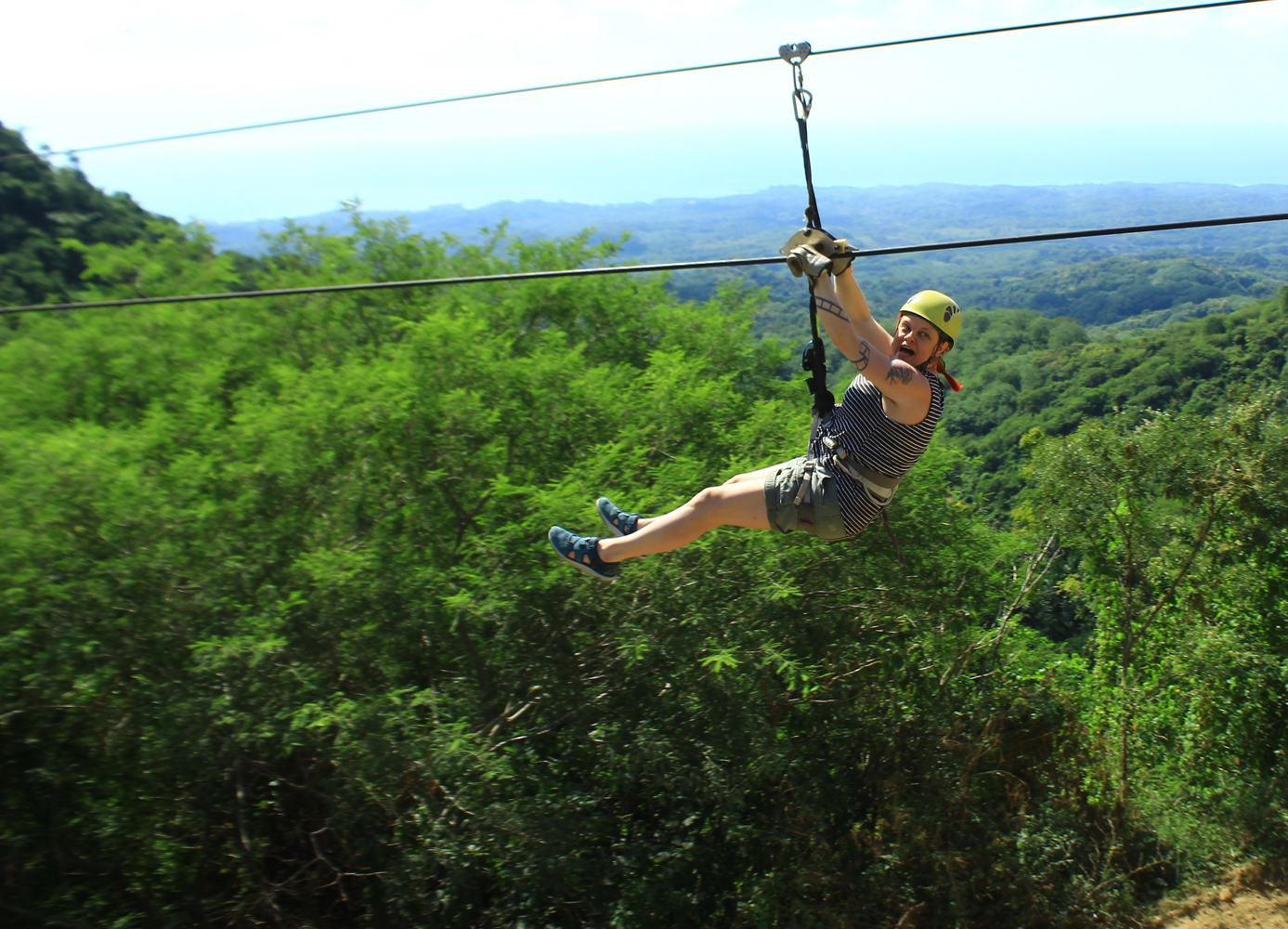 my first zipline ever - my face...!