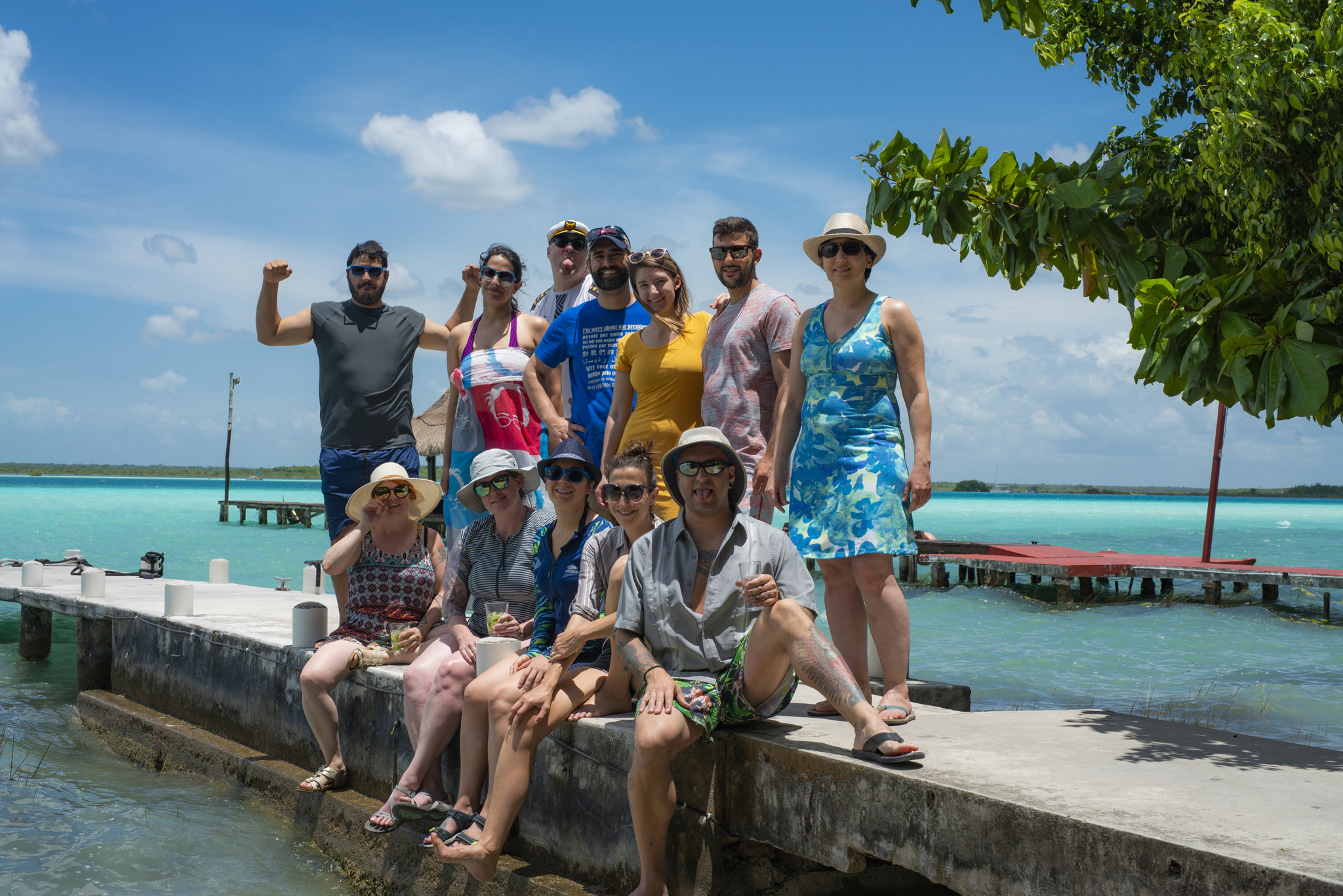 The Deliriously Happy Dozen, at Casa Tortuga, waiting to catch our catamaran