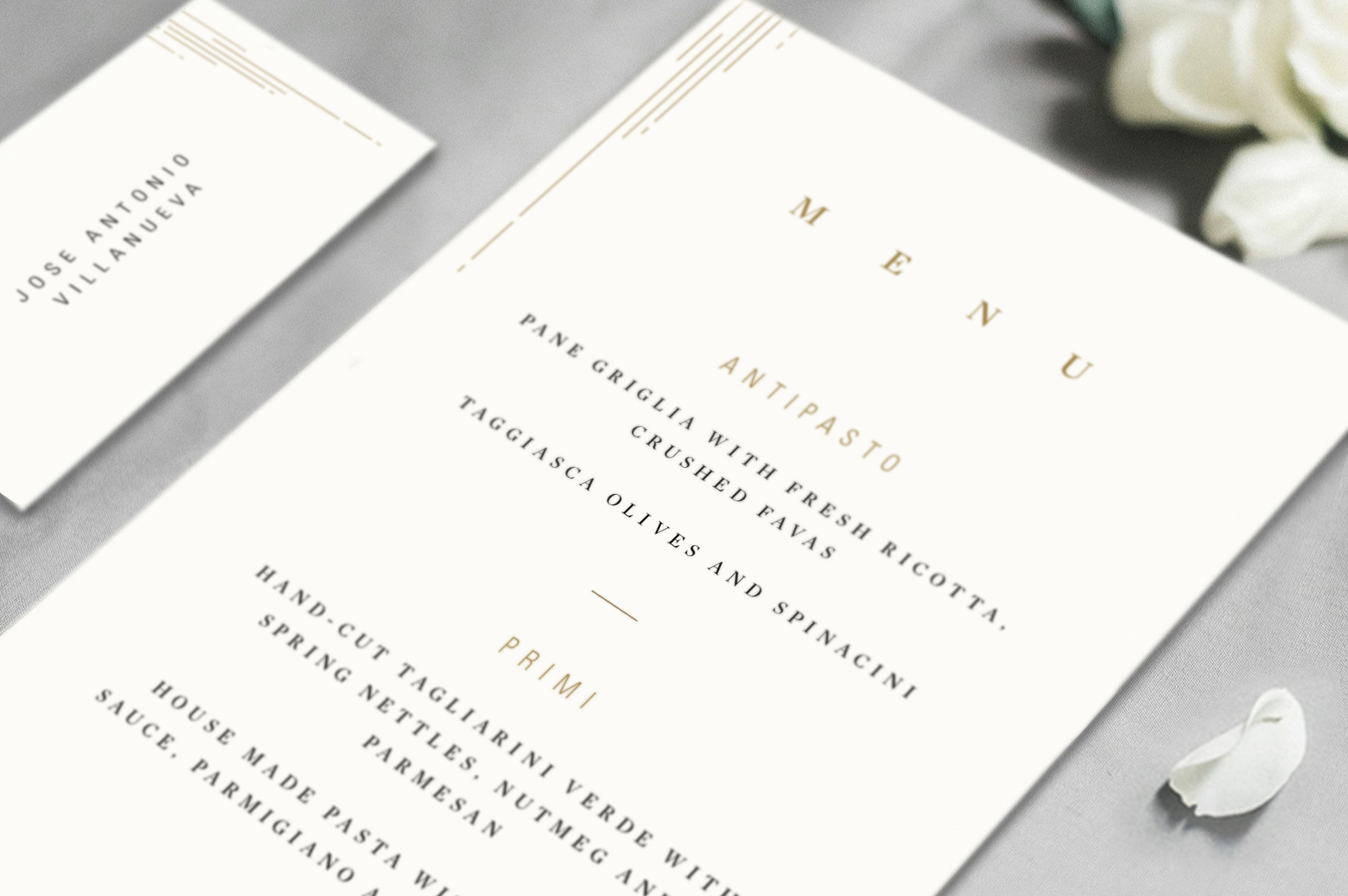 Close up of collateral detail and typographic design.