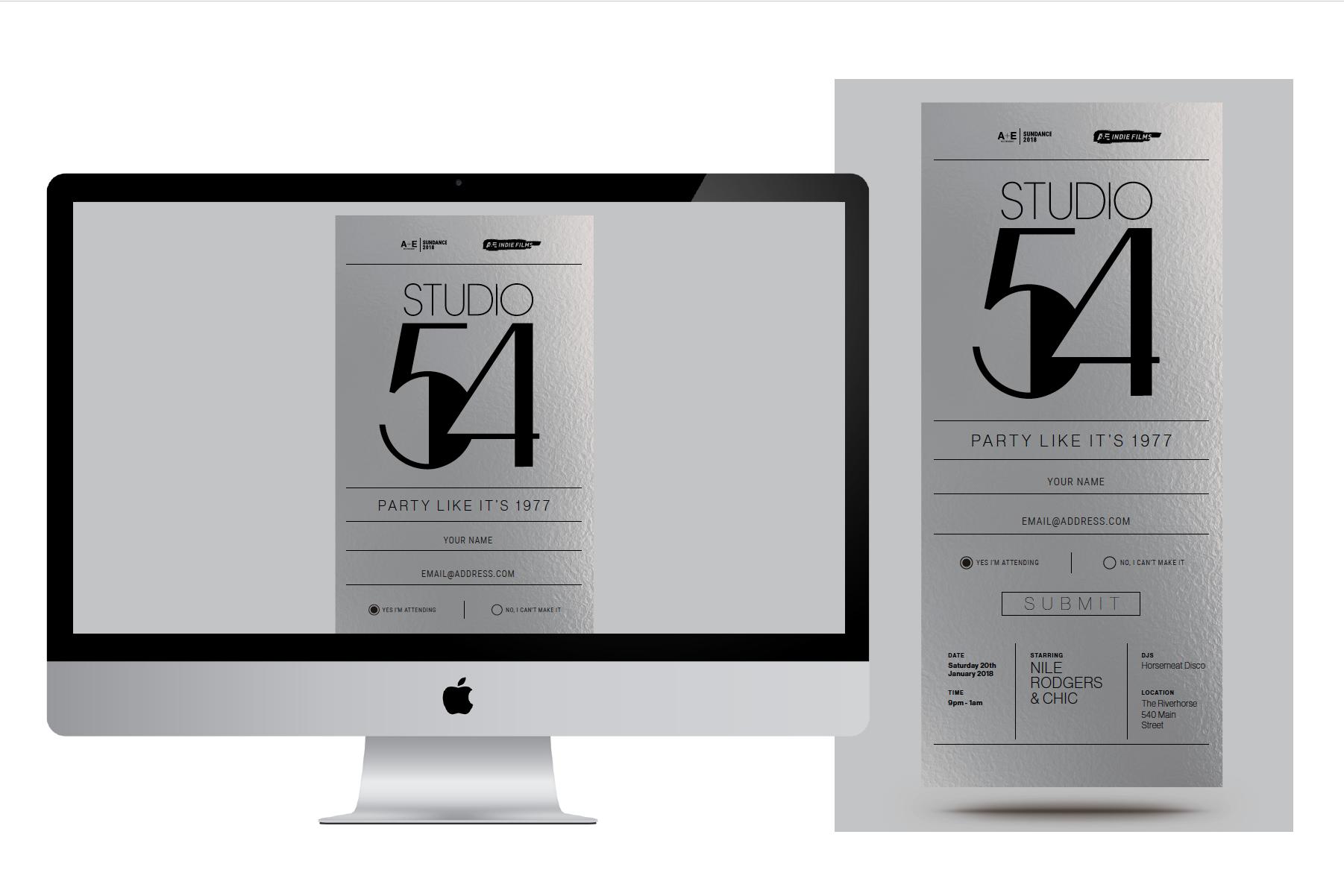 A&E Indie Films Studio 54 party digital invite design