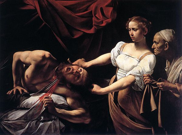 Judith beheading Holofernes  by  Caravaggio , painted in c.1599-1599