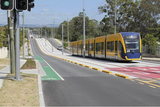 Light rail physically separated from other traffic