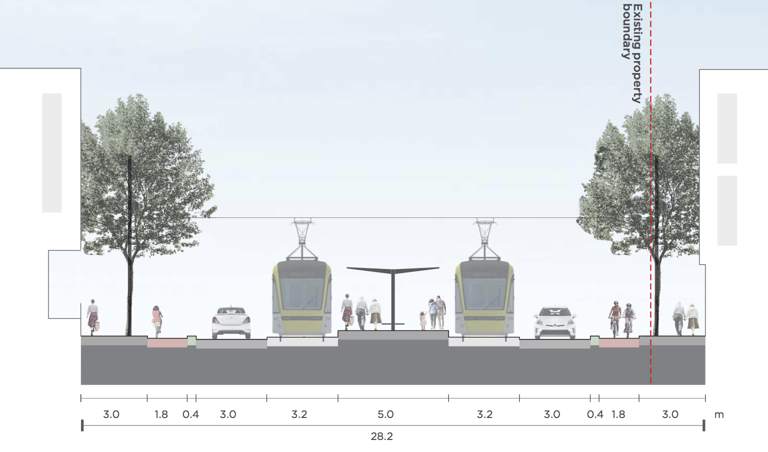Indicative street cross-section on Adelaide Road