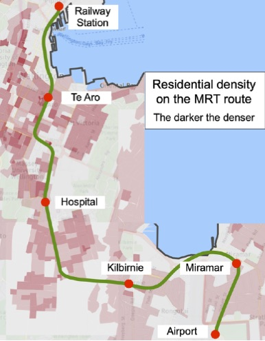 Residential density on the rapid transit route