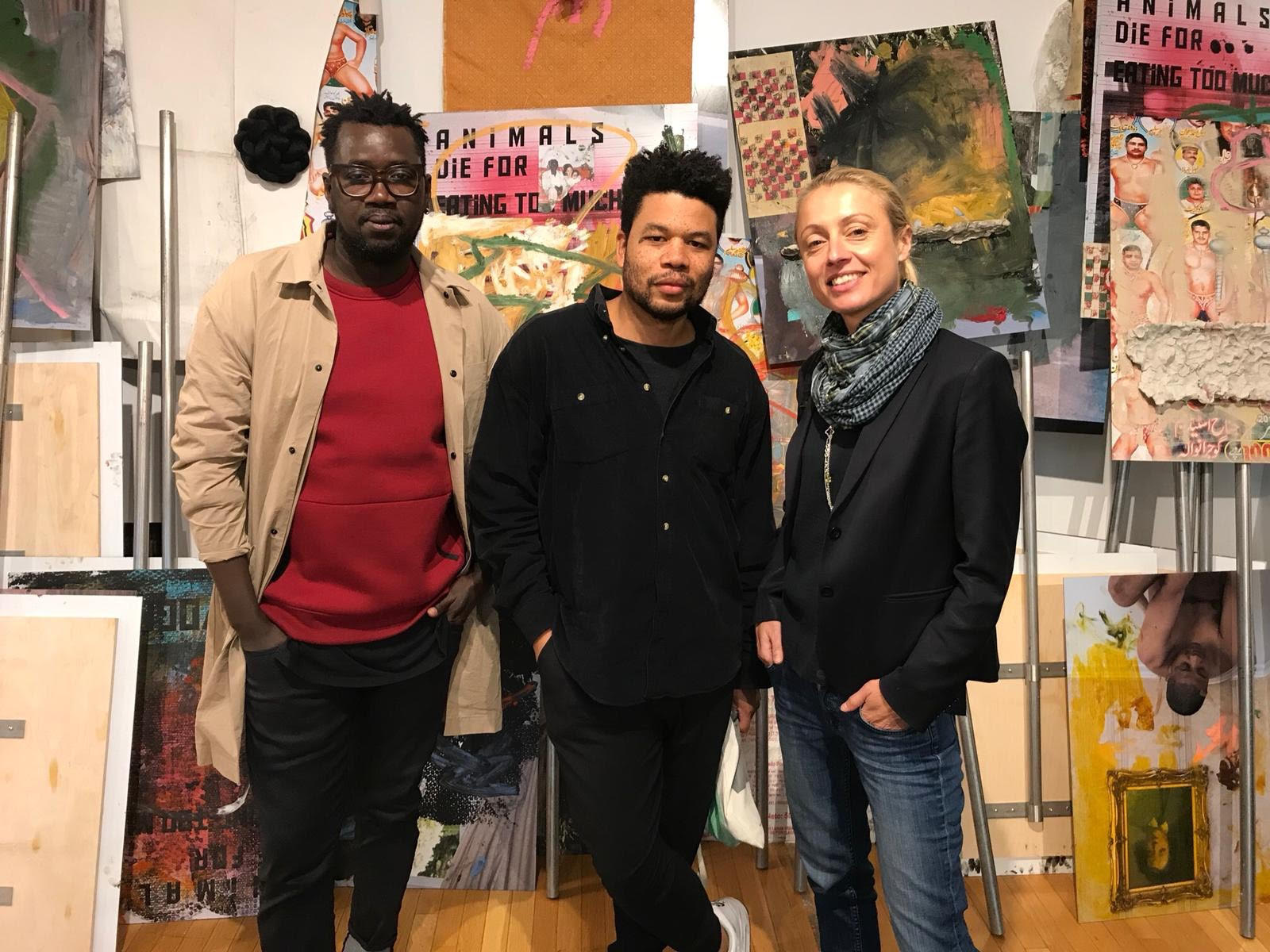 Left to Right: Modou Dieng (Curator), Oscar Murillo (Artist), Veronique Ansorge (Director at David Zwiner New York)