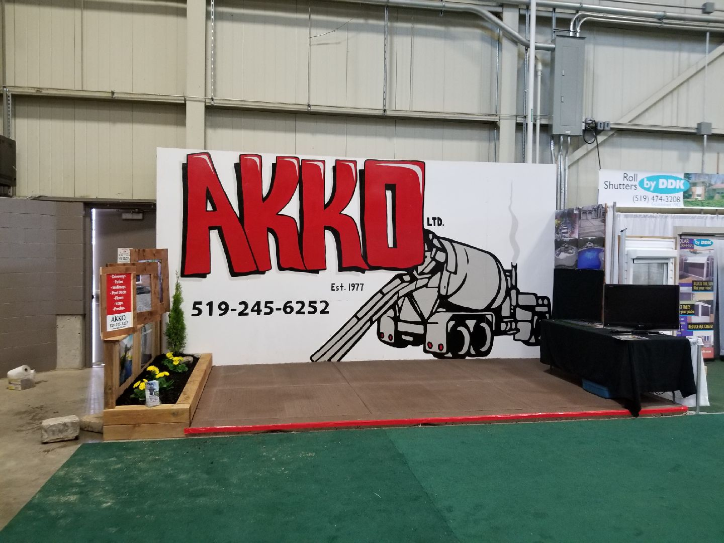 SIGN FOR AKKO HOME AND GARDEN SHOW. 20ft x 10ft. MARCH 25 2018