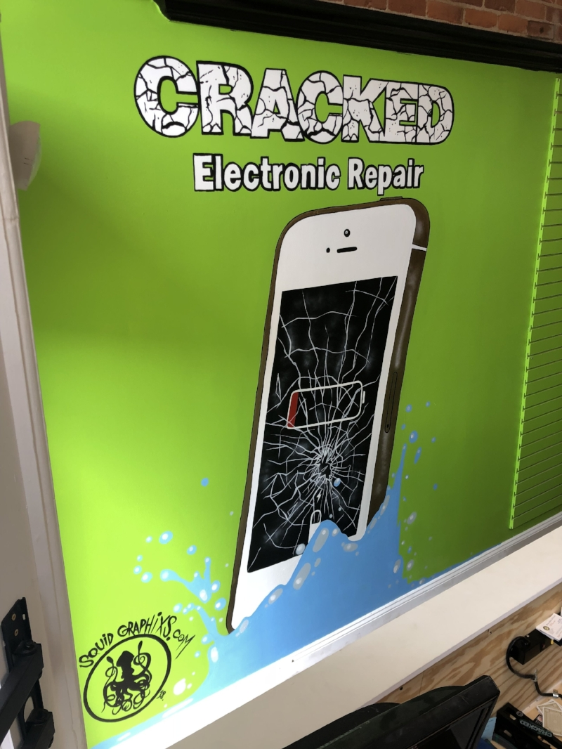 DAMAGED CELL PHONE MURAL FOR @CRACKEDELECTRONICREPAIR MAY 18 2018 12FT X 8FT