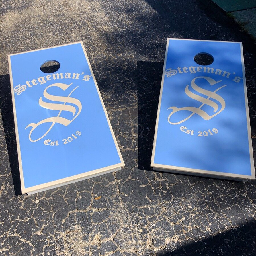 JOEL ANDERSONS CUSTOM CORNHOLE GAME BOARDS - ENAMEL ON WOOD WITH TOP COAT CLEAR  48IN X 24IN 8-25-19