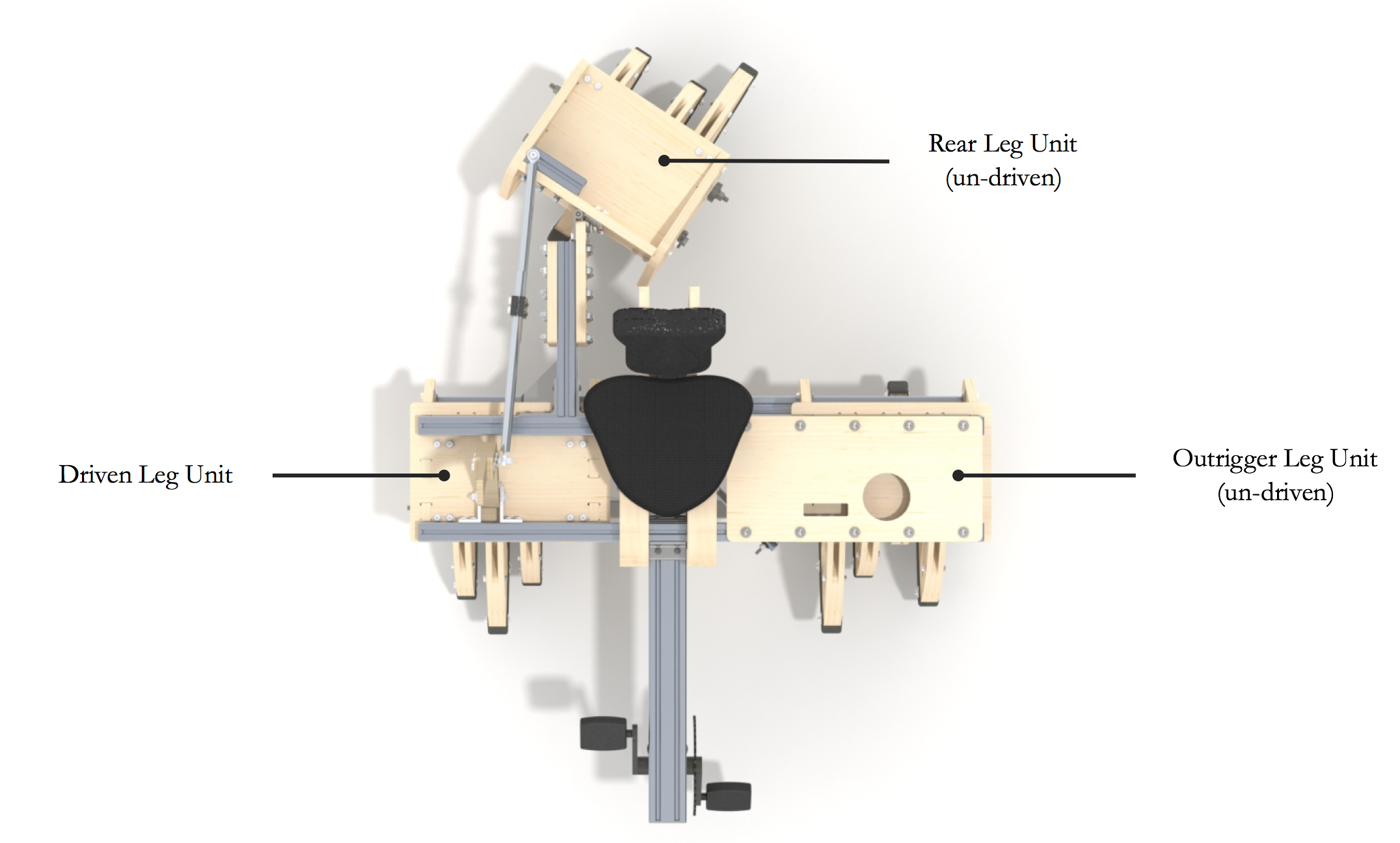 Boomerang Layout - The final layout of our machine featured 3 leg boxes arranged in an asymmetrical, reverse tricycle orientation. This configuration enabled the machine to turn without the use of a differential, placed the drivers weight over the driven leg box, and maximized the left turning capabilities for competition performance.