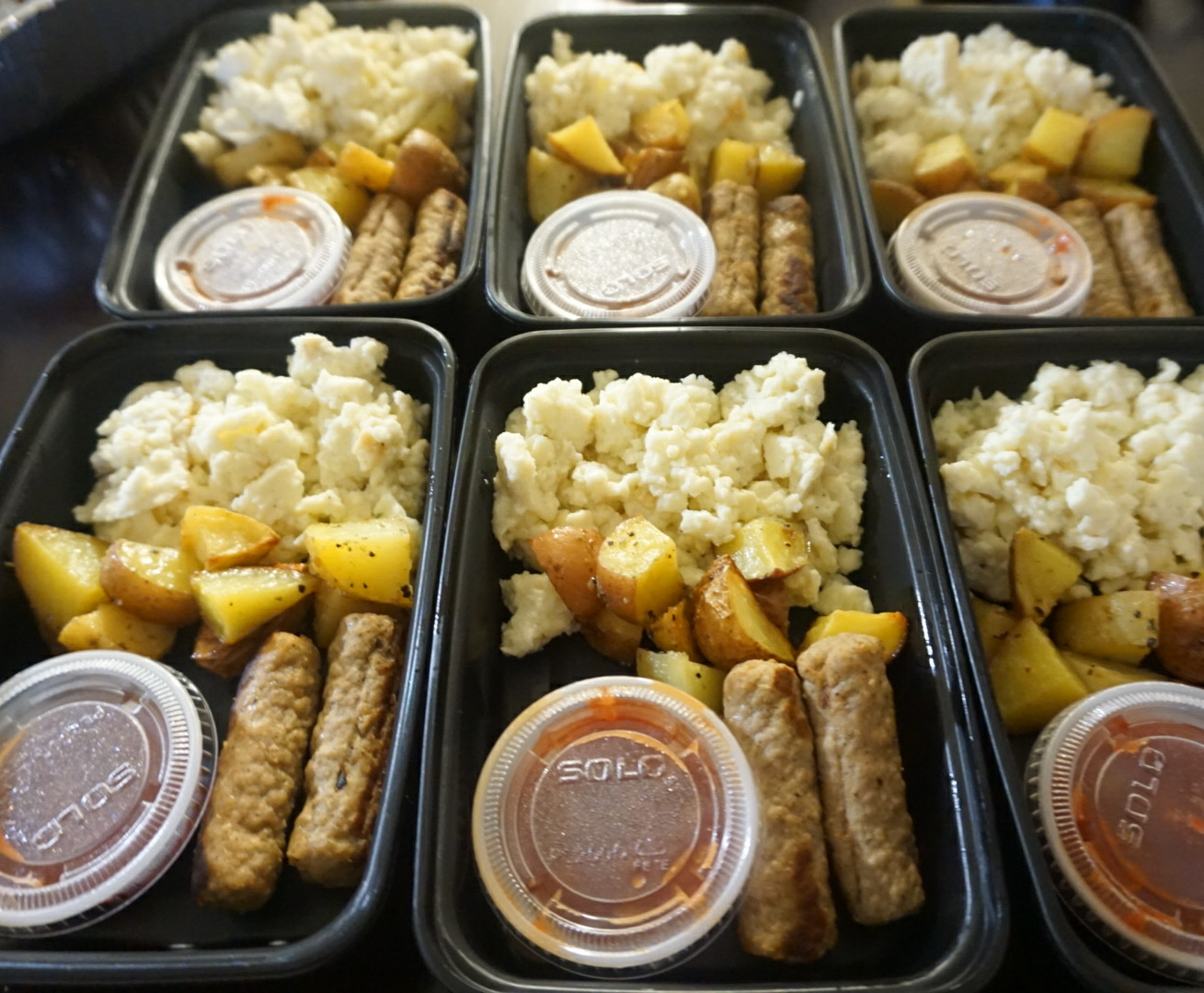 Hearty Breakfast  Egg whites, turkey sausage links & roasted potatoes with red salsa on the side.