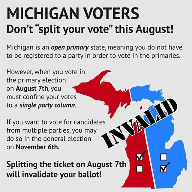 Remember don't split your ballot in August! One party or the other, not both!
