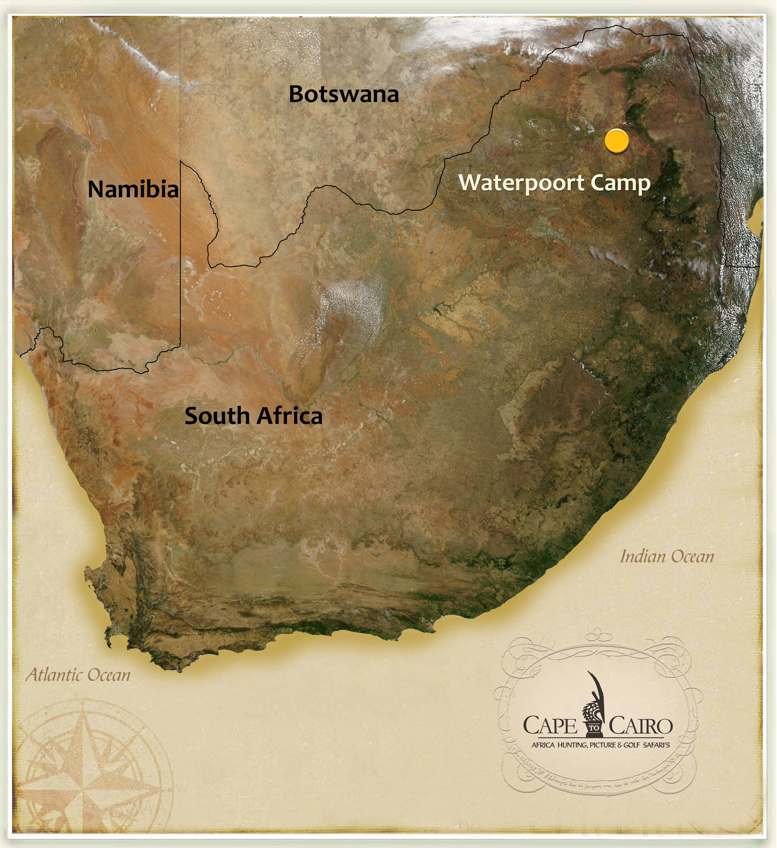 Location - The camp is situated approximately 40km's North East of the town of WaterPoort in South Africa's Limpopo Province.This area is  famous for it's open grasslands and abundant game in the open grass fields.   The 55,000 acre hunting area is home to a myriad of game species including leopard white rhino giraffe, eland, kudu, zebra, blue wildebeest, and many many more