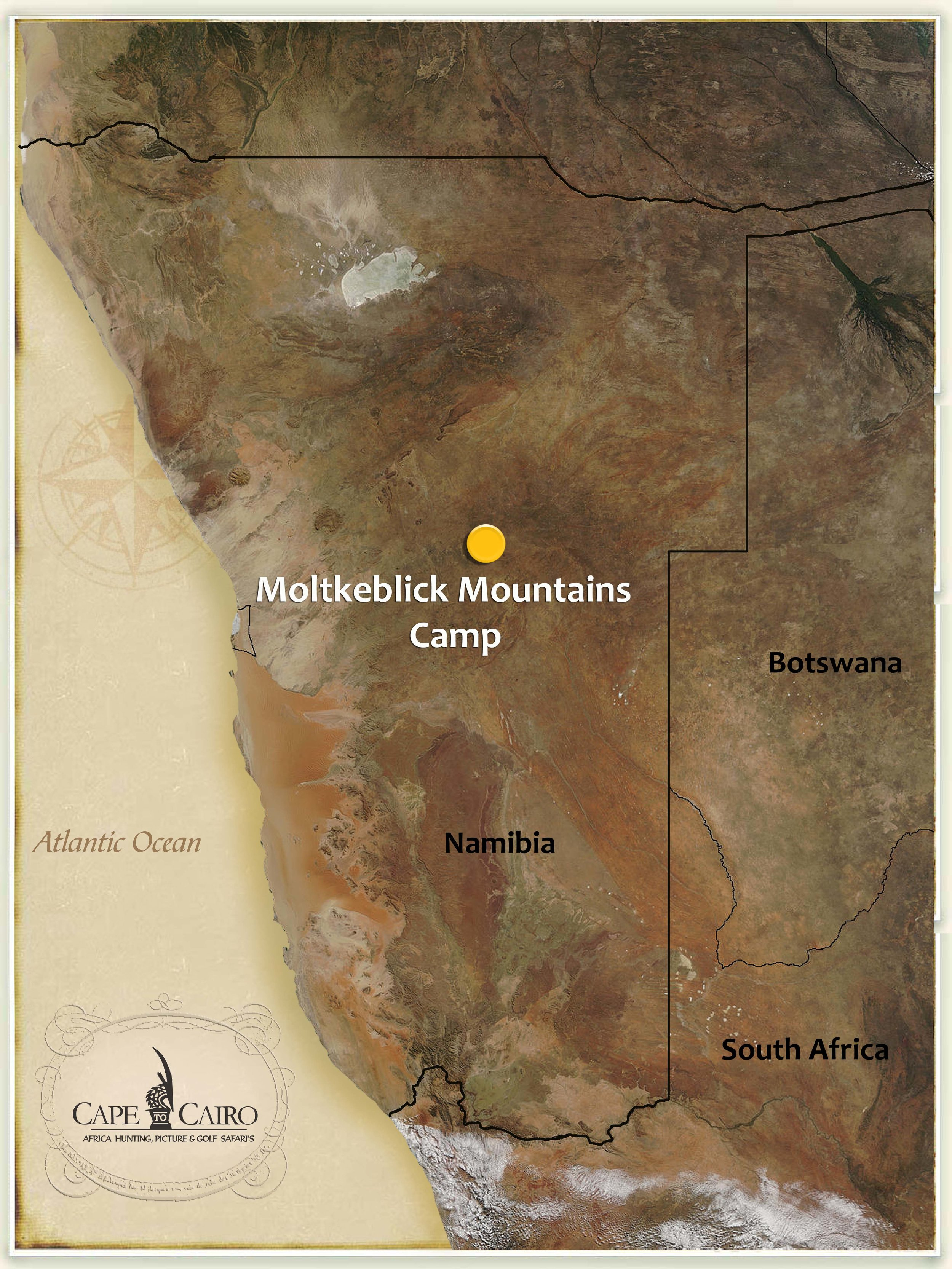Location - The Moltkeblick Mountains Concession is situated in in the central region of Namibia, and located adjacent to Namibia's capital, Windhoek. Umongst these Moltkeblick rolling mountains lies a magnificent prime trophy hunting territory … a jewel to be discovered by the enthusiastic hunter! This concession covers a total are in excess of 53,000 acres and mountains stands at 8,136 feet above sea level, a landmark pointing the way to the start of an exciting adventure in Namibia!