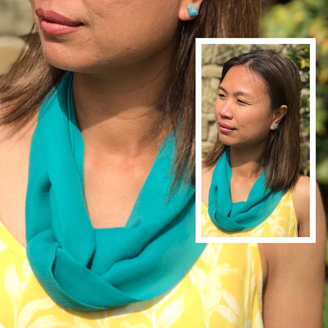 We're ready, are you?  With temperatures set to soar in the UK, summer tops and dresses are perfect to accessorise with our lightweight silk infinity scarf - shown here in cool, Deep Blue Green and teamed with Dark Teal studs - the pearlised option, to give that little extra summery shimmer. Link to shop in profile.  Very thankful for my North facing office and being in the shade this week 🙏🏻🥶😃 Happy Monday everyone x . . . . . . #summerlooks #summerlookbook #summerstyle2019 #summerscarf #scarfshop #summeraccessories #summerstyles #getthelookforless #affordablestyle #stylesummer #silkscarfs #scarvesfordays #accessoriesmaketheoutfit #accessories_trend #colourmebeautiful #instascarf #colourfulstyle #accessoriseyourself #livelifeincolour #knowyourcolours #knowyourwowcolours #wearcolour #dresscolourfully #colourfulfashion #styleoverfashion #summerfashion2019 #summerfashiontrends #justbehue #ladiesaccessories #styleaccessories