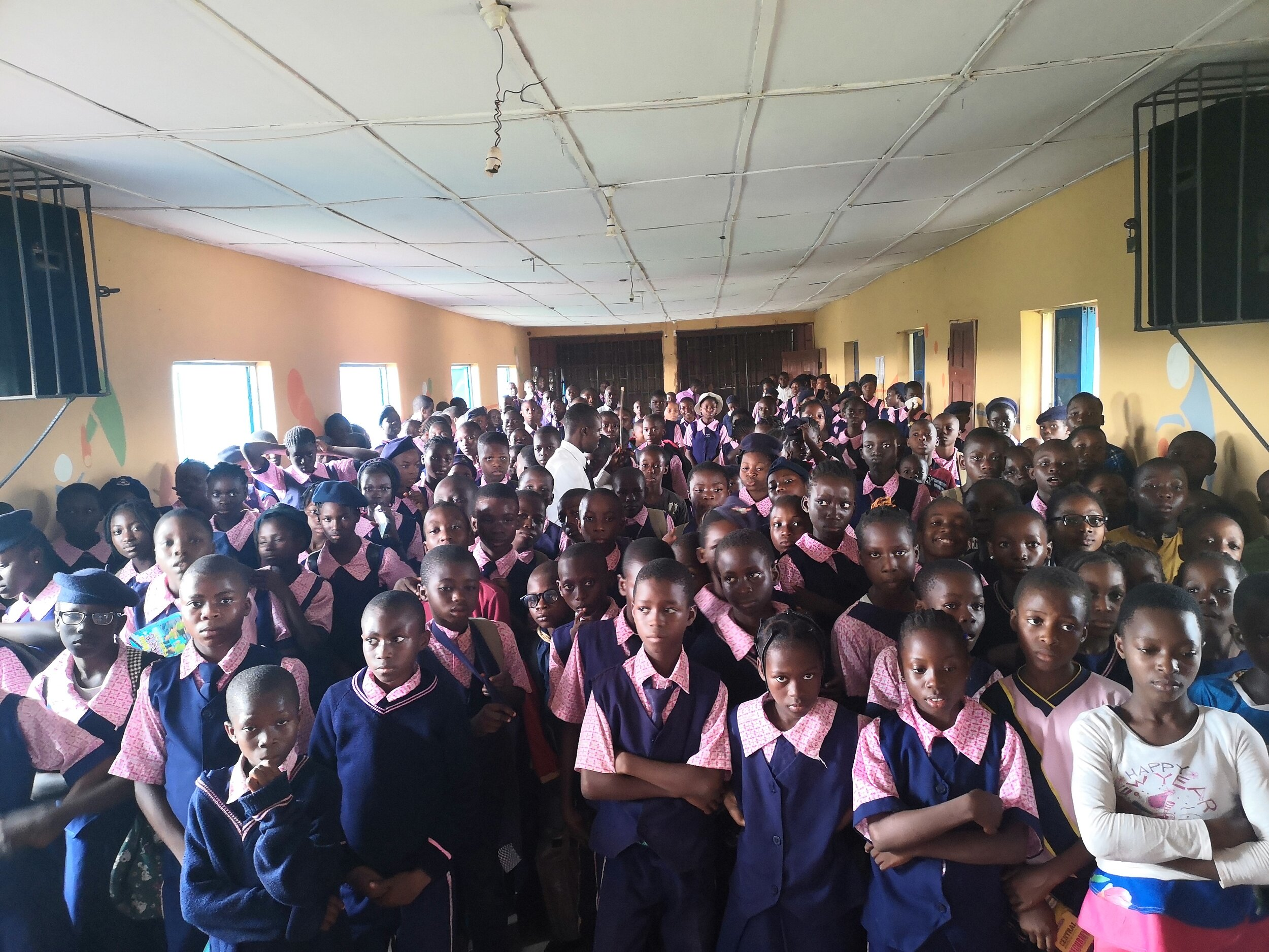 Cross section of Students of Grace and Glory International School listening to the introduction of the Sustainable Development Goals.