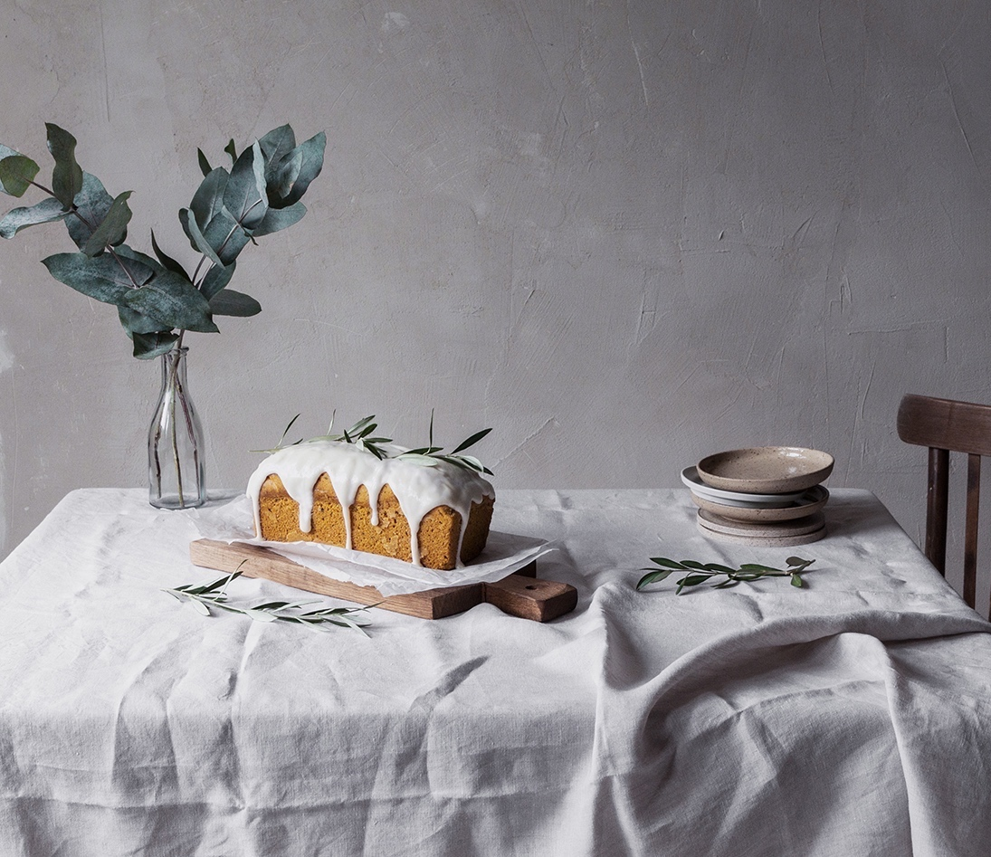 olive oil cake with rosemary and cream cheese glaze