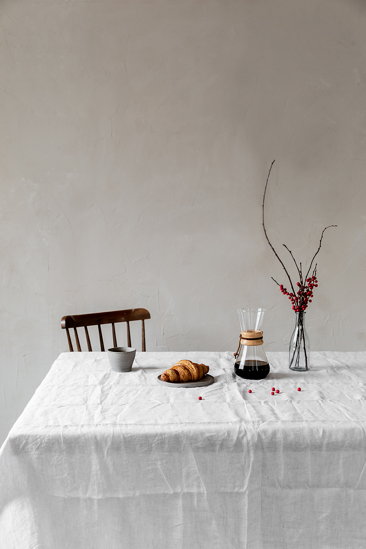 Copy of slow drip coffee and croissant on the table