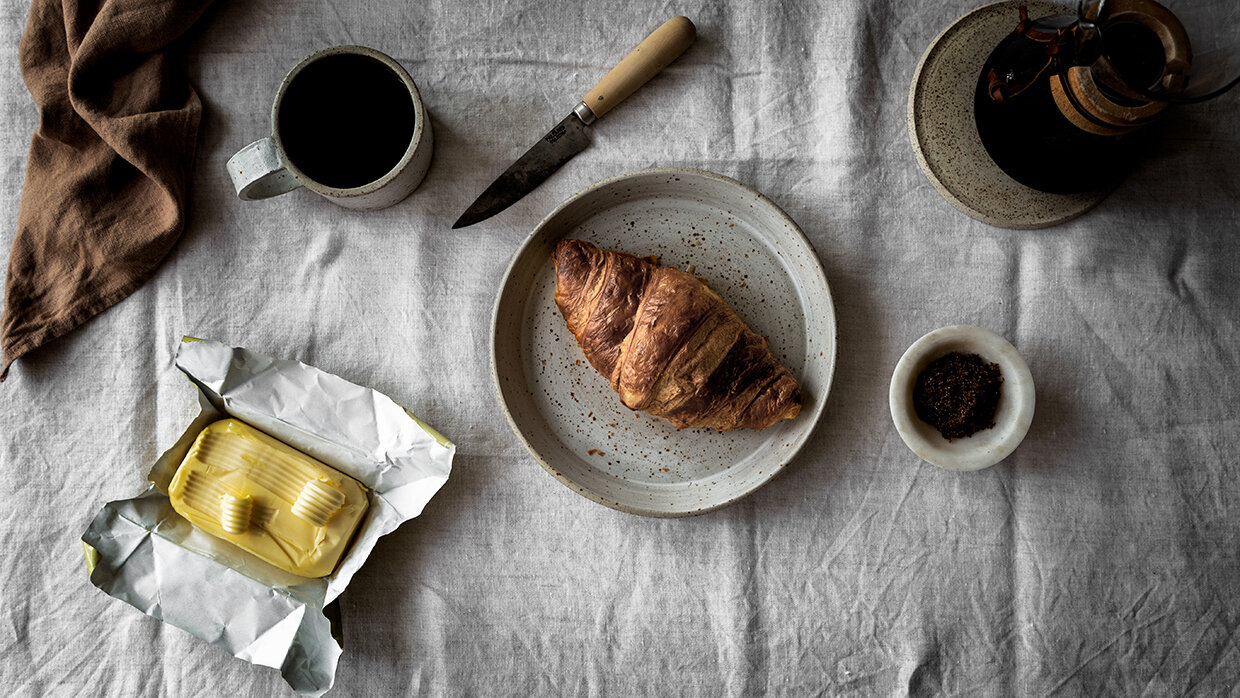 Slow mornings with coffee with croissant