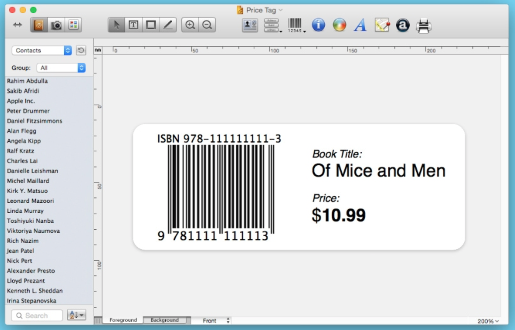 Labels and addresses Example 2 - SAC student discount.png