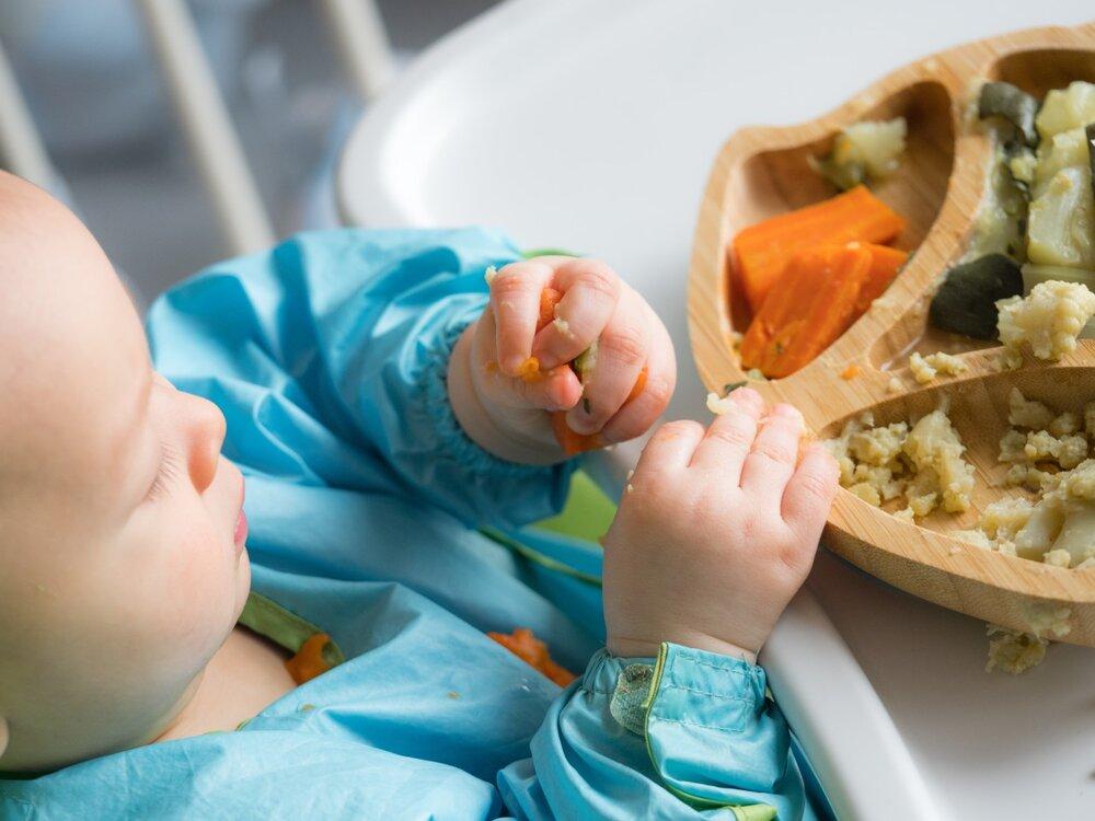 Baby feeding self in highchair wearing a blue bib