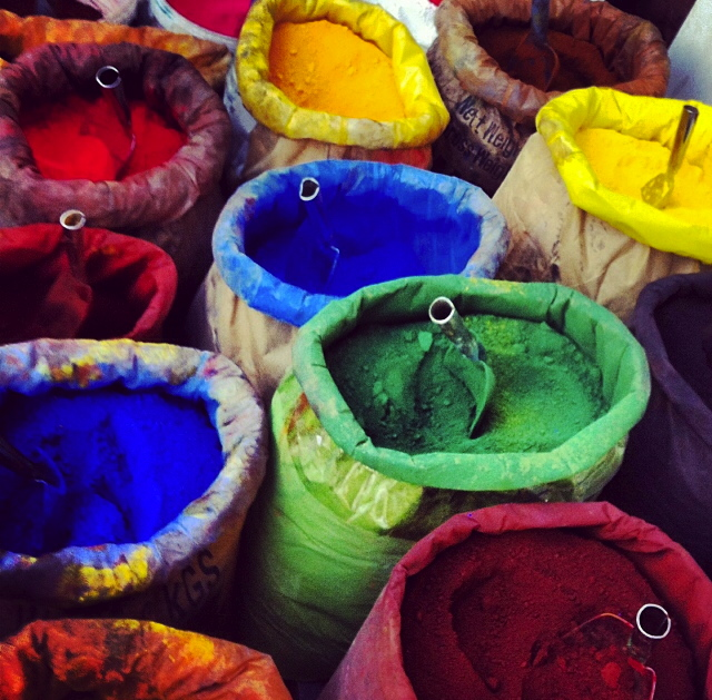 Bags of pigments at a backstreet market in Istanbul, Turkey.