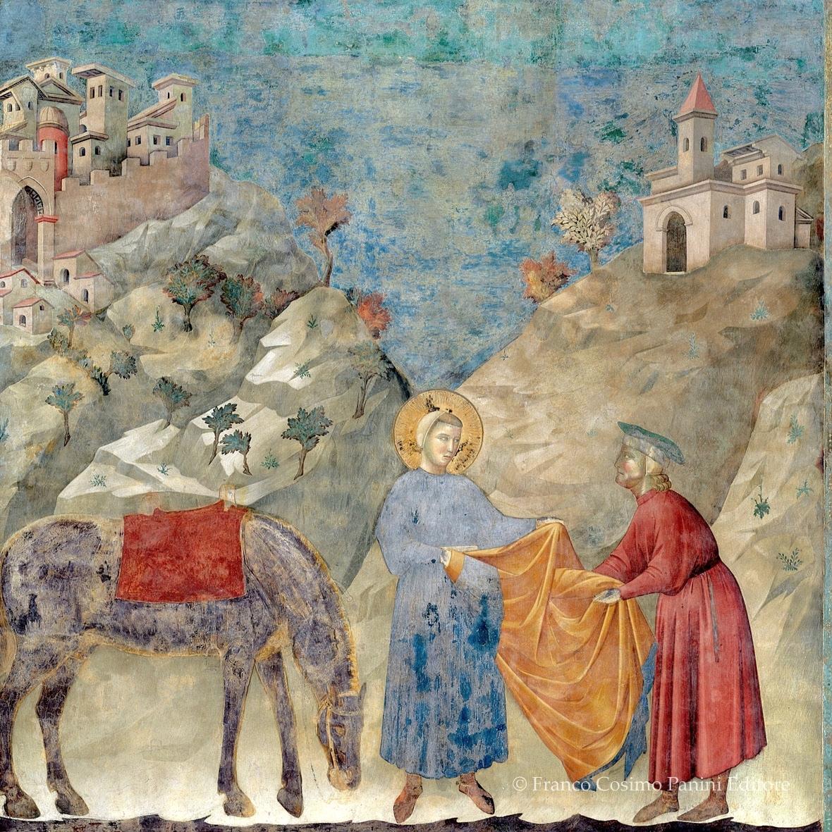 """""""Il dono del un mantello a un povero"""" (1297-99) by Giotto in the Upper Basilica of San Francesco fresco cycle of the life of Saint Francis."""