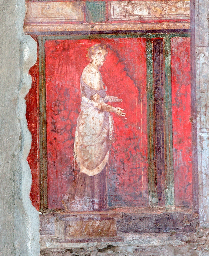 The  Villa of Mysteries , like the rest of the Roman city of Pompei, was buried in the eruption of Mount Vesuvius in 79 AD and excavated from 1909 onwards.