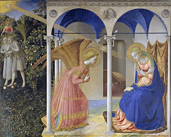 Beato Angelico,  Annunciazione  , 1435 ,  tempera  su tavola, 154×194 cm, Museo del Prado, Madrid.