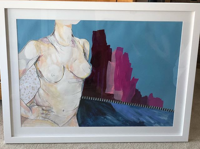Here's a funny story.  I was sat in a local cafe (@thestoresgreatwaltham) and saw some artwork that was being exhibited by a local artist.  The pictures were of a naked lady, bright acrylics, contemporary feel and I thought 'I'd love one of those pictures'. Then I thought, why would I buy an artwork of another naked lady, I'm a lady, I could get naked, couldn't I?  Could I stand naked while someone stared at every inch of my body?  Could I stand still, exposed and vulnerable while being under someone's glare?  Could I leave myself wide open to judgment and criticism from a stranger?  I found the artist via Insta, sent her a DM, told her I was on a journey of reconnection with my body and I was leaning to the idea of being drawn for one of her drawings.  We met for coffee, I was instantly put at ease and we set a date.  Turns out I could do ALL of those things, and it felt incredible.  This is ME and I am proud of my body, especially my tits, my tits are banging 😜👌. Thank you @helengirling for sharing your talents and giving me an experience that will stay with me a lifetime, and a stunning piece of art that will forever remind me how beautiful my body is.  #artist #art #nakedartwork #nakedbody #bodypos #bopo #positivebodyimage #lovemybody #bodylove