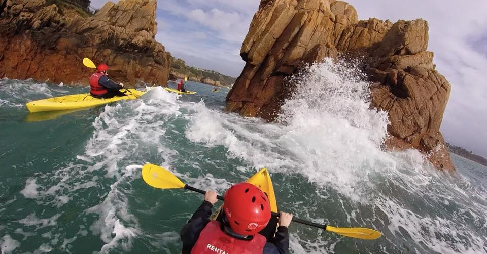 Paddling through devils jaws back into Brelades Bay
