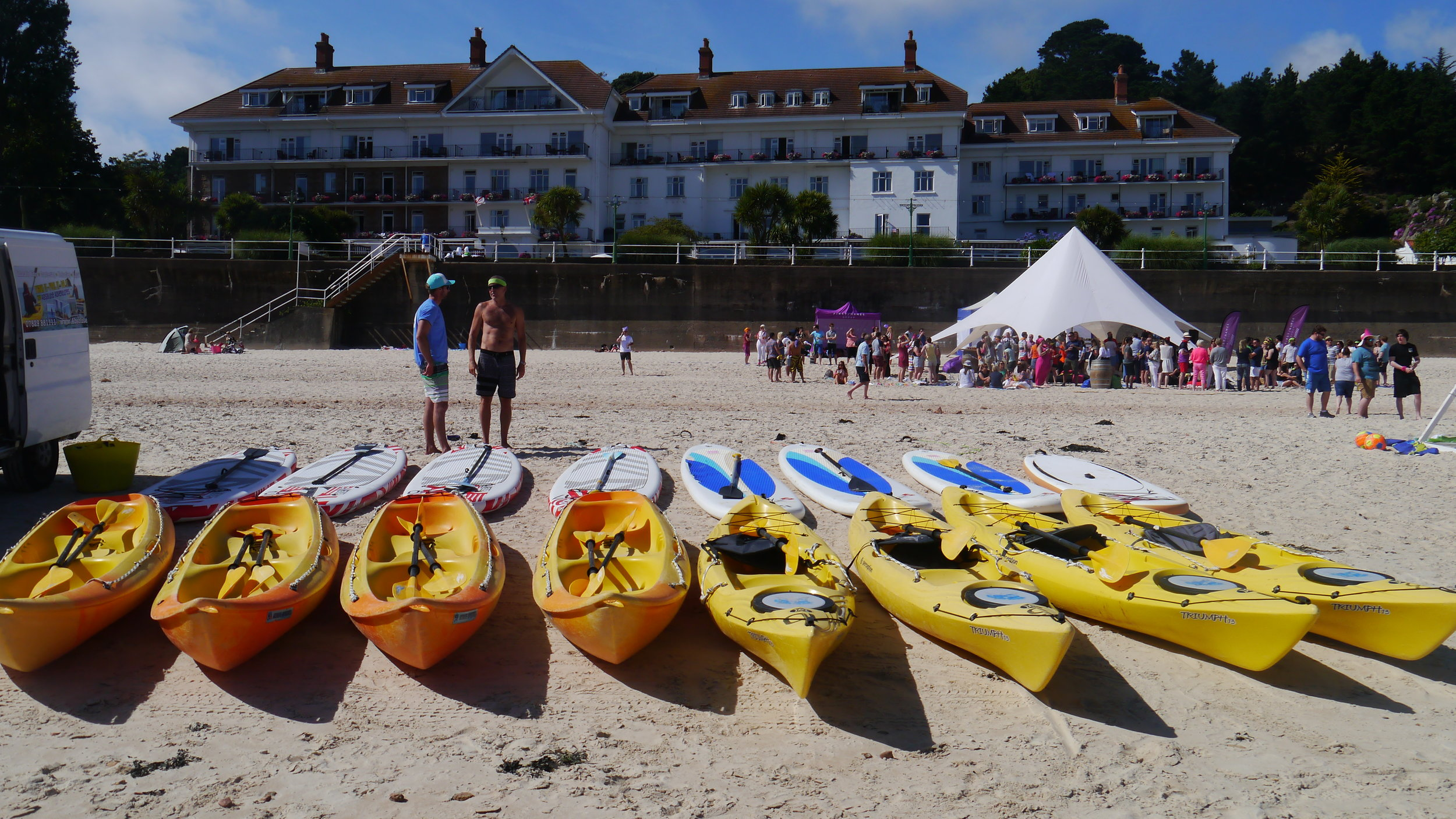 Corporate beach day for 200 people. Partaking in Kayaking , paddle boarding, RIB trips and Sofa Rides