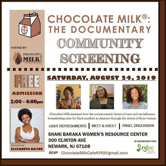 "The ""Chocolate Milk"" Documentary is coming out this August & there will be a screening right here in Newark! @chocolatemilkdoc  Happening August 24th 1p @ Shani Baraka Women's Resource Center. Director @graybayne Screening hosted by @chcolatemilkcafenynj #breastfeeding  #blackbreastfeeding #blackmoms"