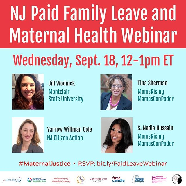 Webinar to discuss and explore NJ's upcoming expansion of existing Paid Family Leave program.  Lucky we are to live in NJ, which is 1 of only 3 states that legally requires paid family leave. #paidfamilyleave #njpaidfamilyleave #familyleave #njbirthworker
