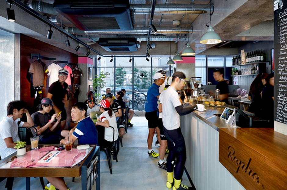 Above: cyclists stop for coffee at a Rapha store in Tokyo.